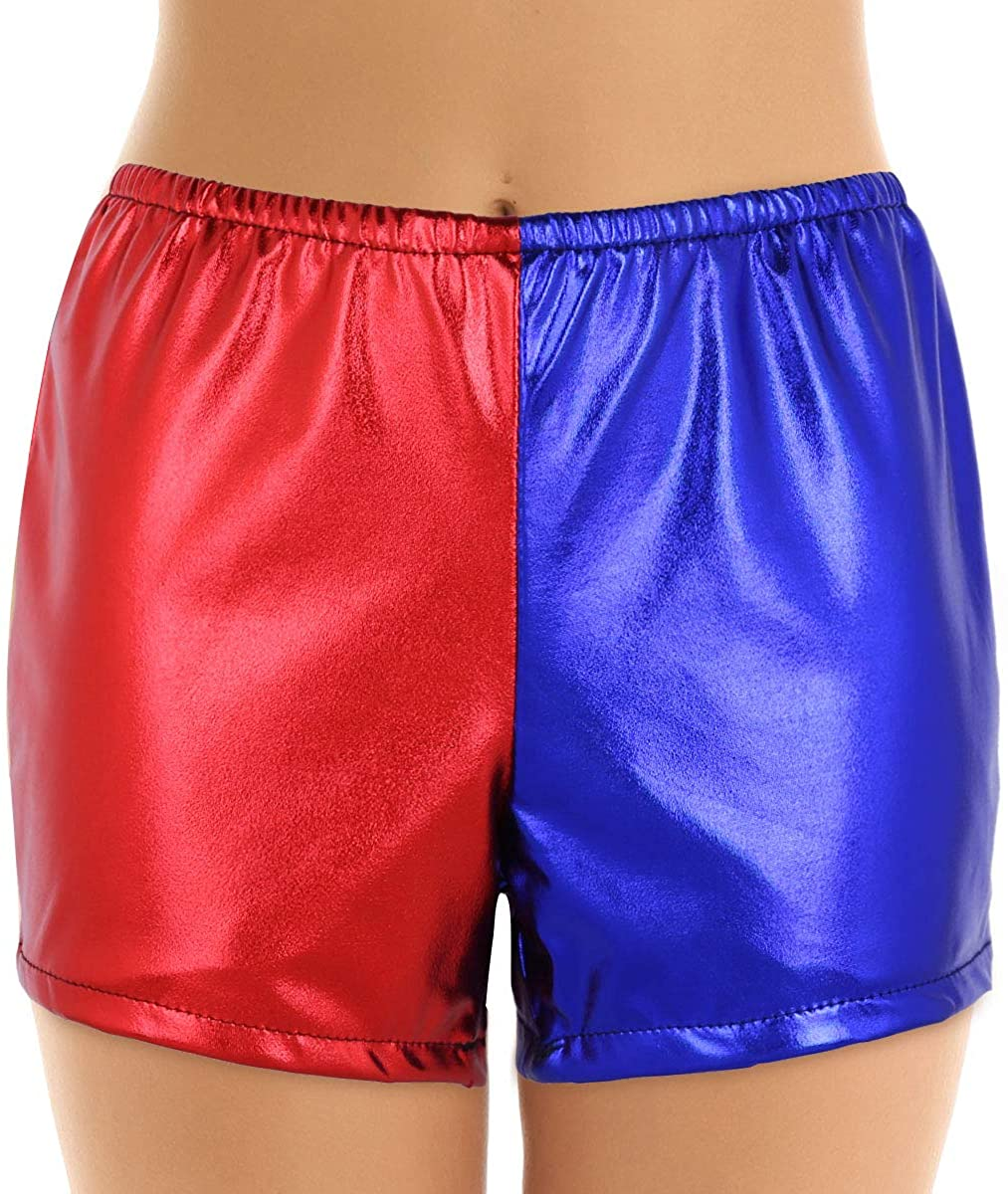 ACSUSS Womens Shiny Metallic Leather Cosplay Costume Colorblock Booty Shorts Underpants