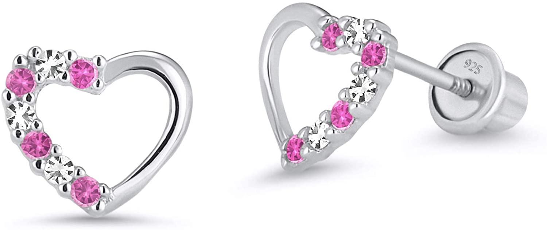 925 Sterling Silver Rhodium Plated Pink Open Heart Cubic Zirconia Screwback Baby Girls Earrings
