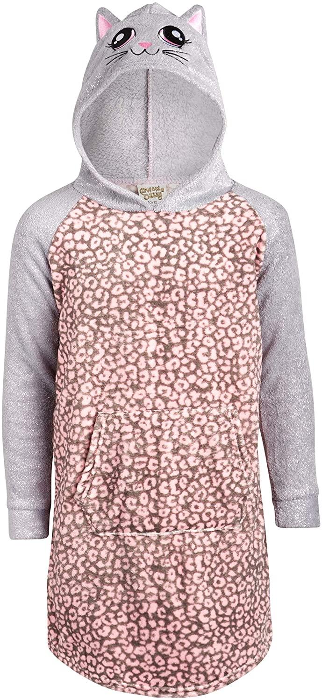 Sweet & Sassy Girls' Sleepwear - Coral Fleece Critter Hoodie Nightgown Pajamas