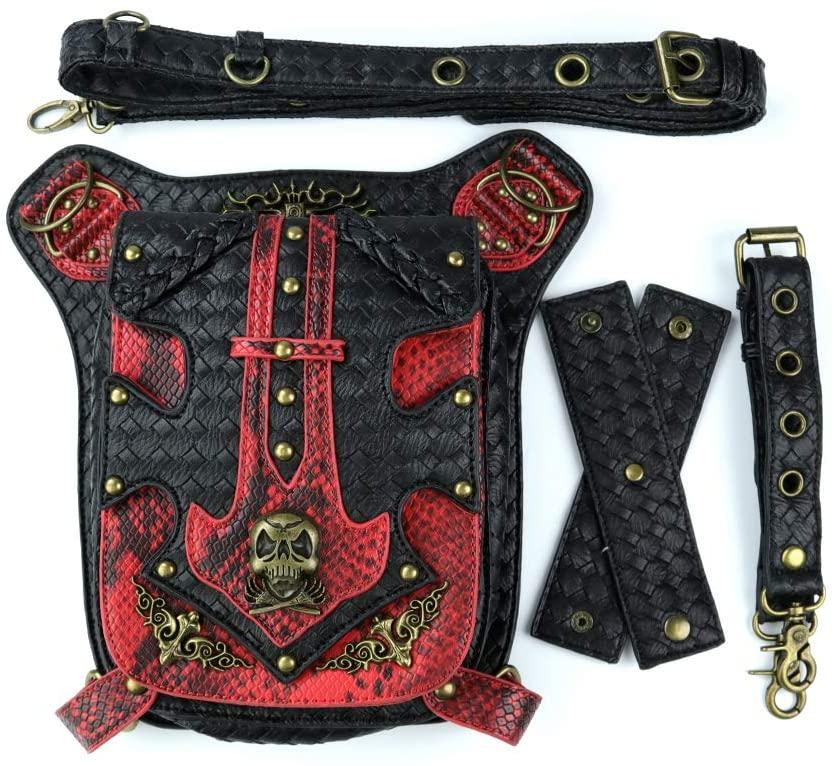 Punk Women Men Skull Waist Bags Vintage Crossbody Motorcycle Leather Leg Bag