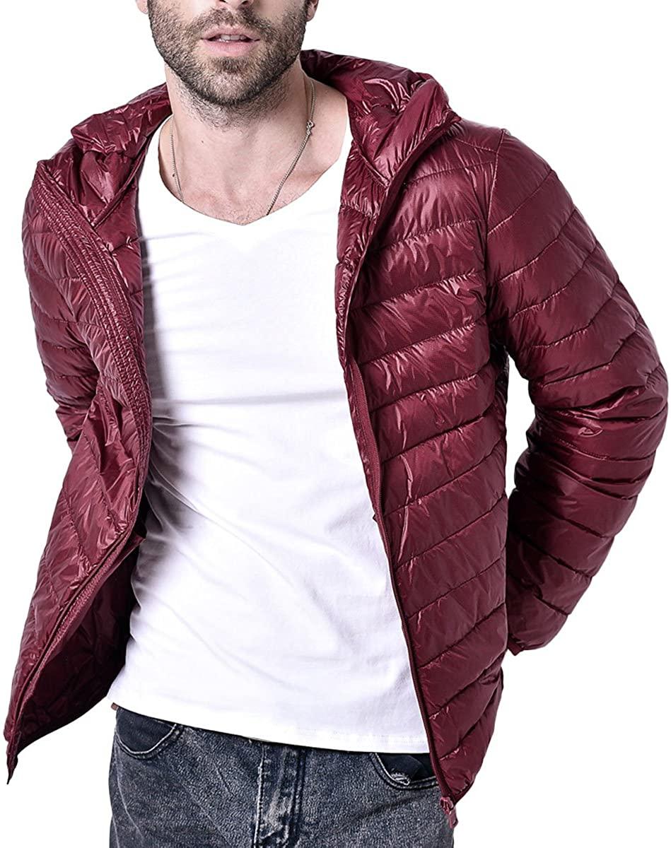 LANMWORN Men 6 Colors Hood Down Jacket Loose Packable Waterproof Lightweight Down Coat Outwear Winter XXS~XL