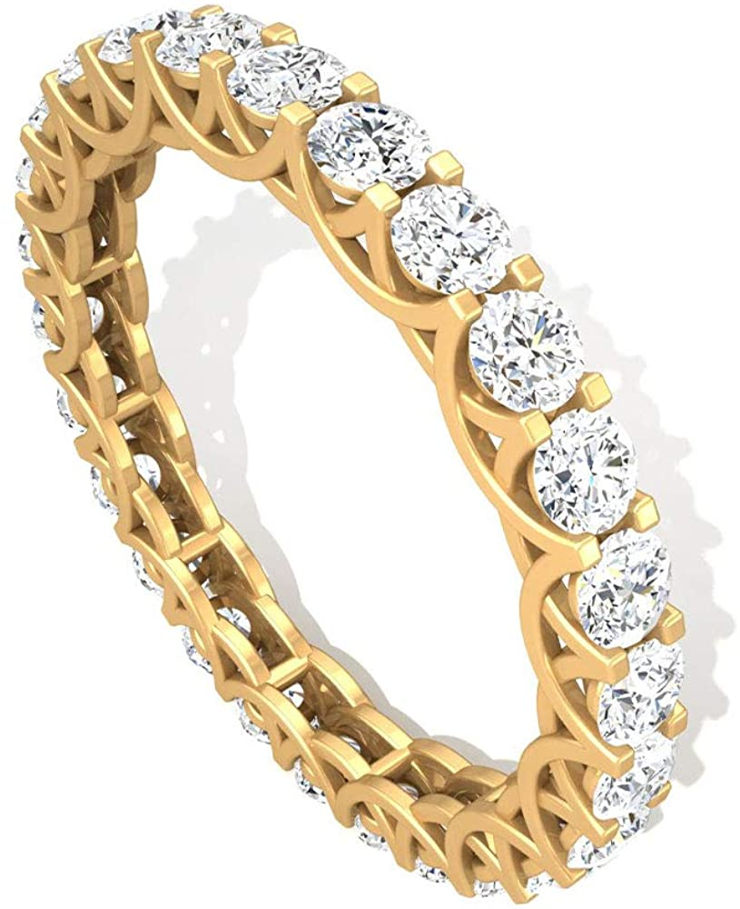 1.70 CT Prong Set Round IGI Certified Diamond Full Eternity Ring, Antique Bridal Wedding Anniversary Promise Matching Ring, Mother Day Stackable Rings, 14K Yellow Gold, Size:US 8.5