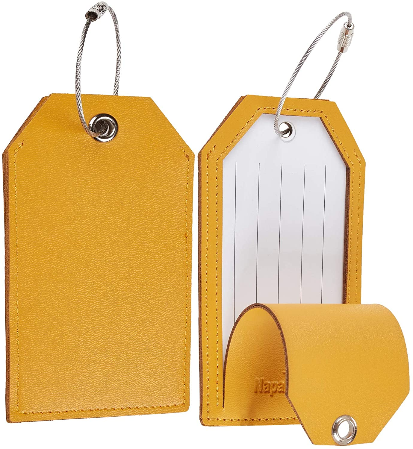 Toughergun Leather Instrument Baggage Bag Luggage Tags with Privacy Cover 2 Pcs Set (Yellow)