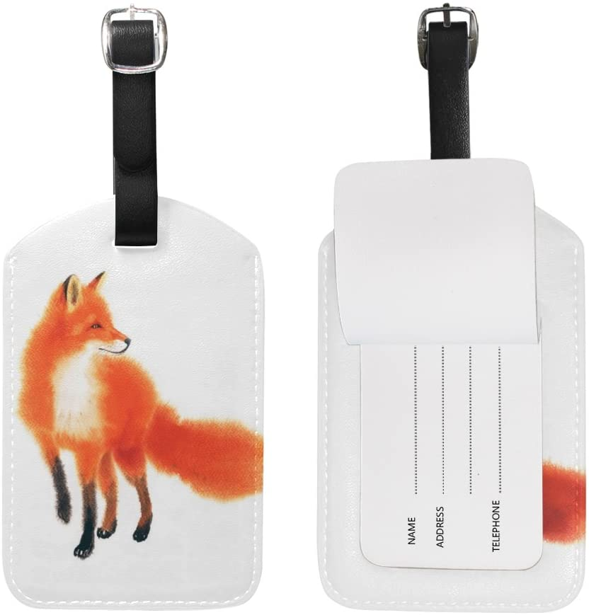 My Daily Fox Watercolor Luggage Tag PU Leather Bag Tag Travel Suitcases ID Identifier Baggage Label