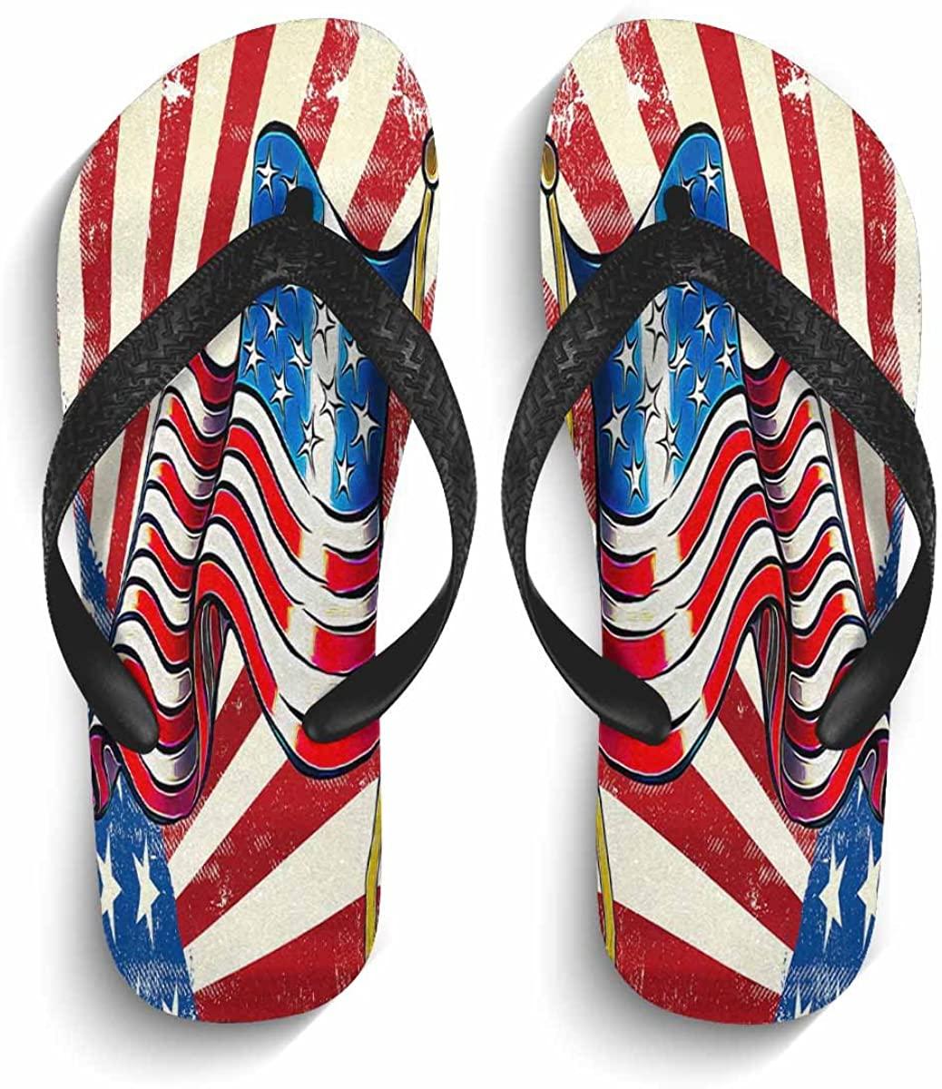 MingDe Sports Mens Thong Sandals Fashion Trendy USA Flag Print Non-Slip Pool House Home Flip Flops