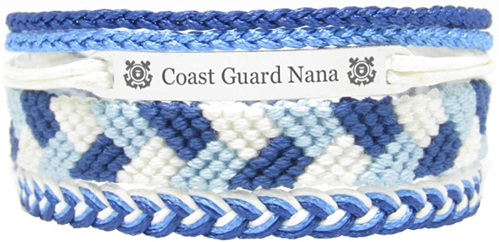 Miiras Family Engraved Handmade Bracelet - Coast Guard Nana - Blue - Made of Embroidery Thread and Stainless Steel - Gift for Coast Guard Nana