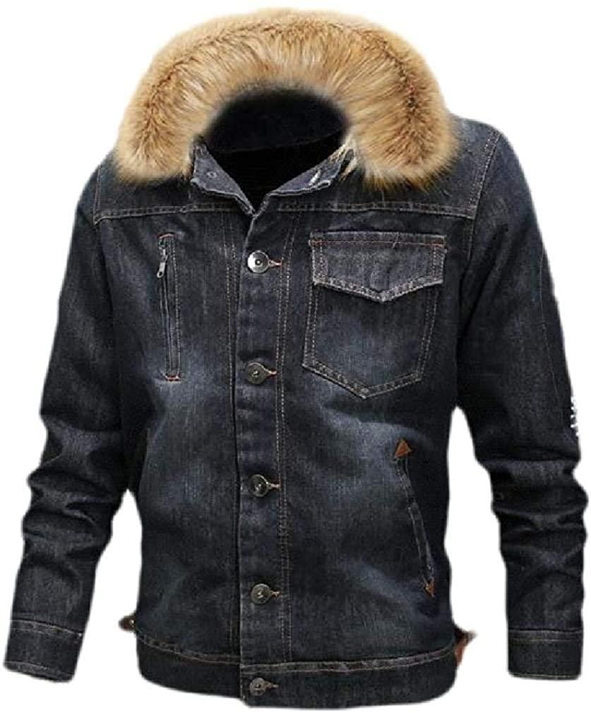 Mens Distressed Moto Fleece Winter Padded Button Coat Denim Jackets
