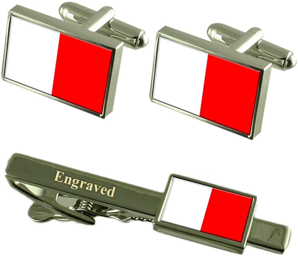 Bari City Italy Flag Cufflinks Engraved Tie Clip Set