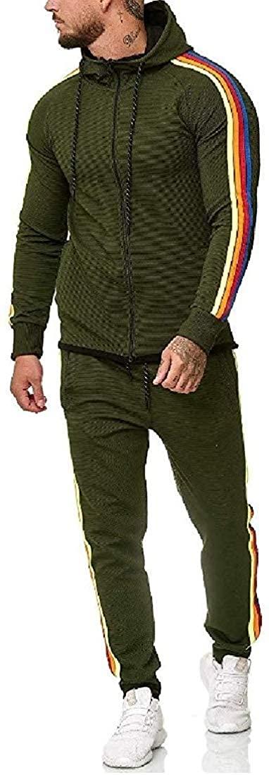 Mens Zipper Hoodie Contrast Color Jacket Two Pieces Pants Tracksuit Set