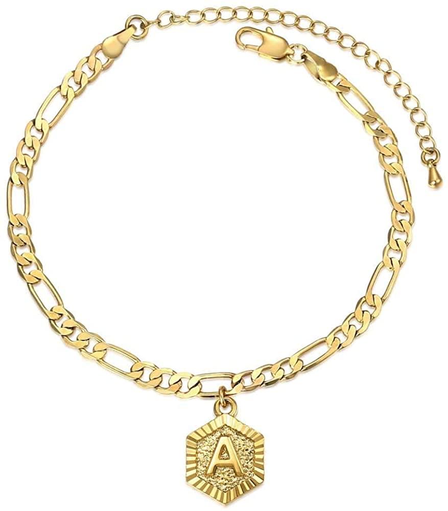 Hermah Letter Charm Anklet Fashion Jewelry for Women Girls Alphabet Initial Letter Anklet Stainless Steel Figaro Link Chain Bracelet Length Adjustable