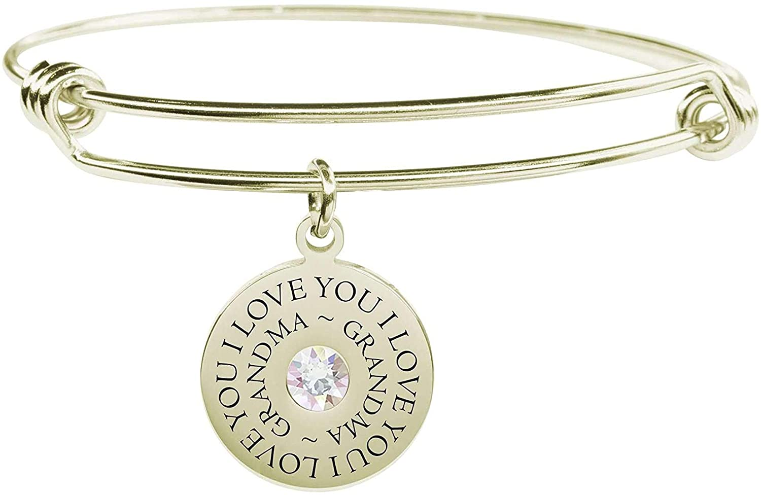 Pink Box Round Inspirational Bangle Made with Crystals from Swarovski Grandma - Gold