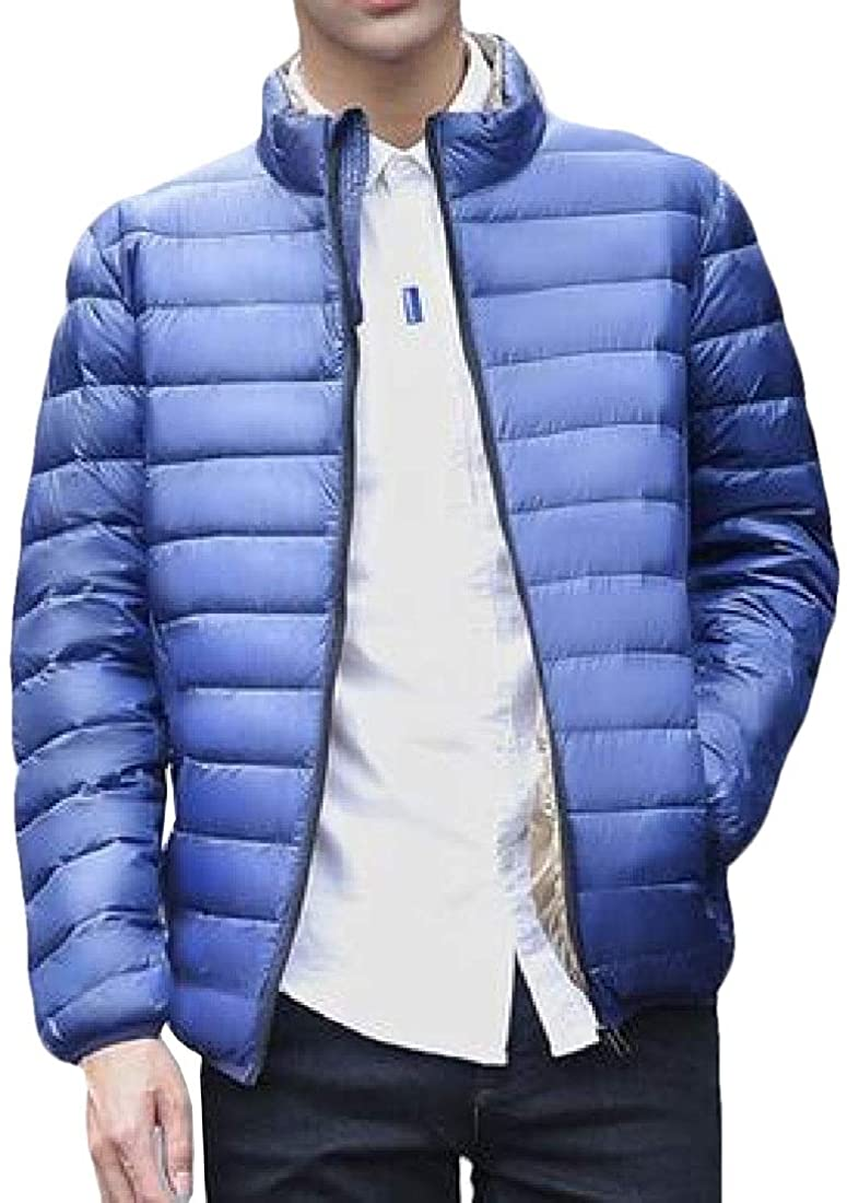 ouxiuli Mens Fashion Lightweight Packable Stand Collar Down Jacket Winter Water-Resistant Outwear Coat