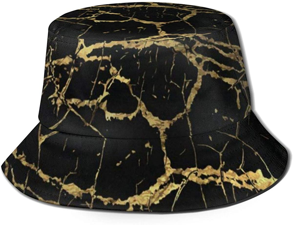 Bucket Hats for Teens Gold Black Marble Beach Bucket Hat, Uv Bucket Hat, Foldable Sun Bucket Hat, Fisherman Hat