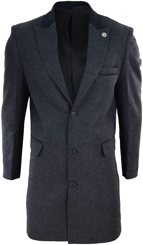 Mens 3/4 Long Crombie Overcoat Jacket Herringbone Tweed Coat Peaky Blinders Fit