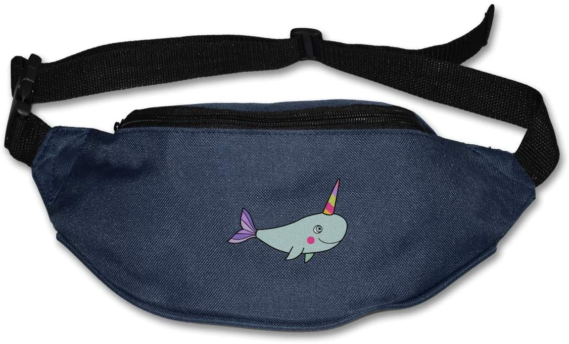 SWEET-YZ Unisex Waist Pack Cute Narwhal Flat Fanny Bag Pack for Sport Running