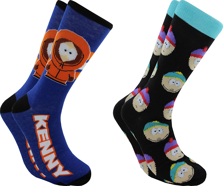 Hyp South Park Kenny & Cast Men's Crew Socks 2 Pair Pack Shoe Size 6-12, Blue