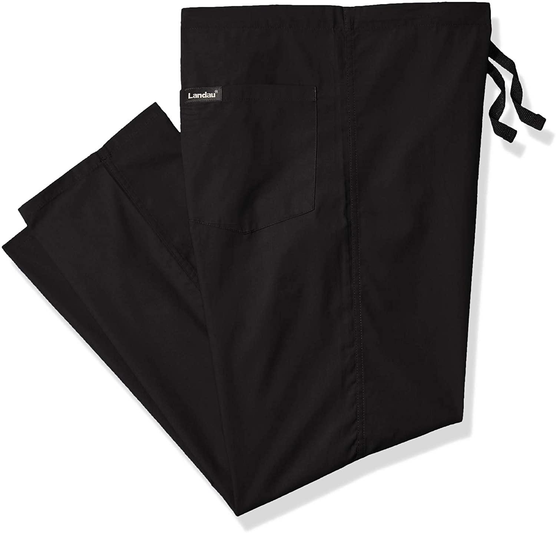 Landau Unisex Classic Fit Reversible Drawstring Scrub Pants Large Petite Black