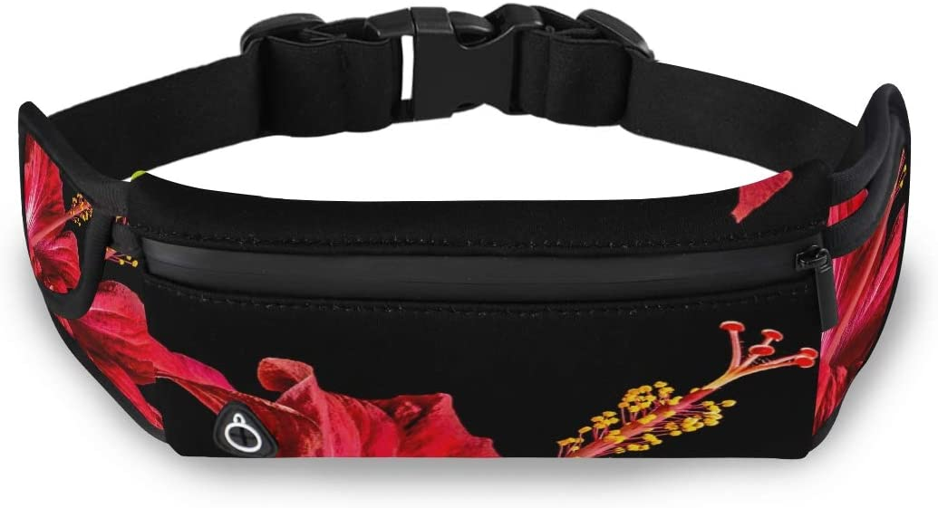 Hibiscus Blossom Bloom Flower Red Marshmallow Waist Gym Bag Fanny Waist Pack Fashion Waist Bag With Adjustable Strap For Workout Traveling Running
