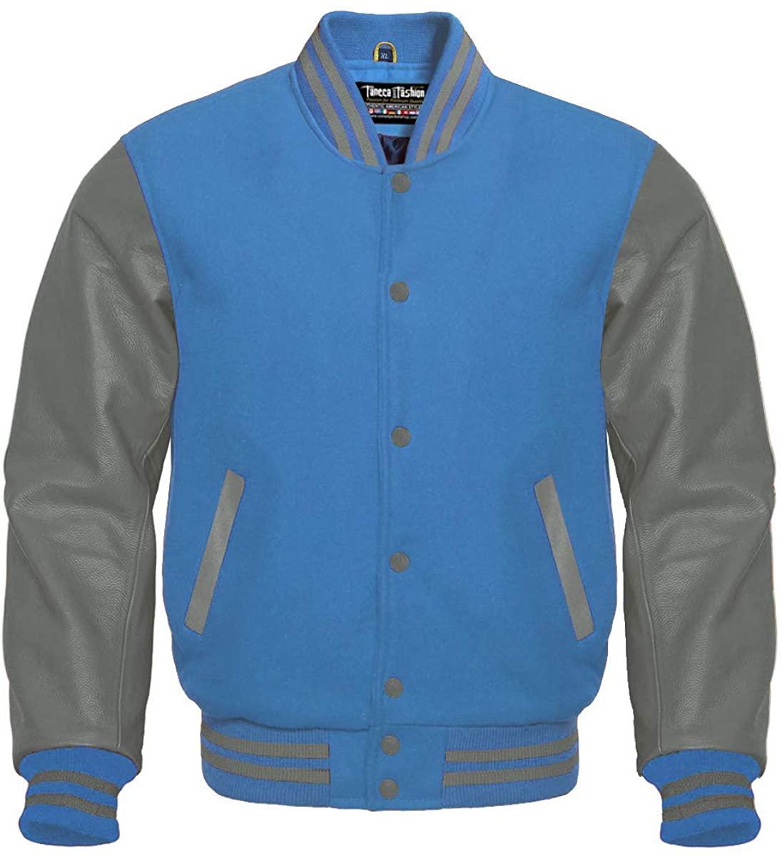 Faneca Fashion Sky Blue Wool Bomber College Baseball Grey Genuine Leather Sleeves Varsity Jacket