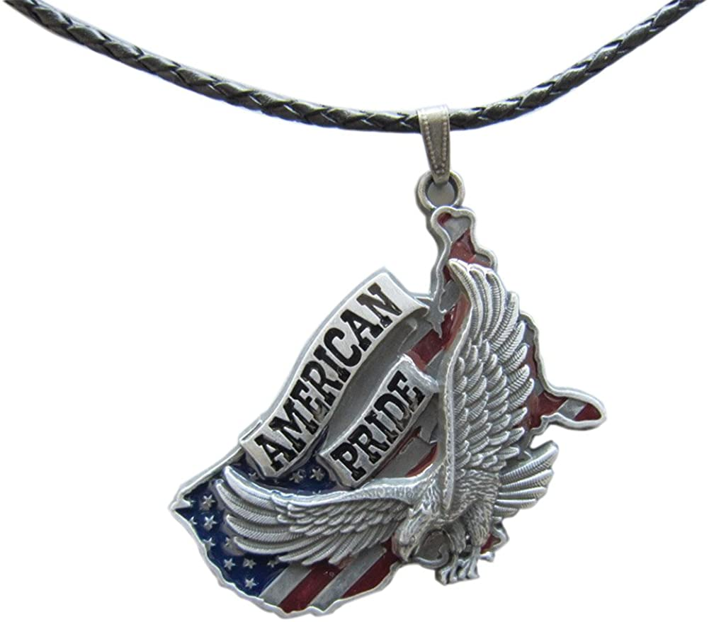 New Vintage Eagle American Pride Metal Charm Pendant Leather Necklace