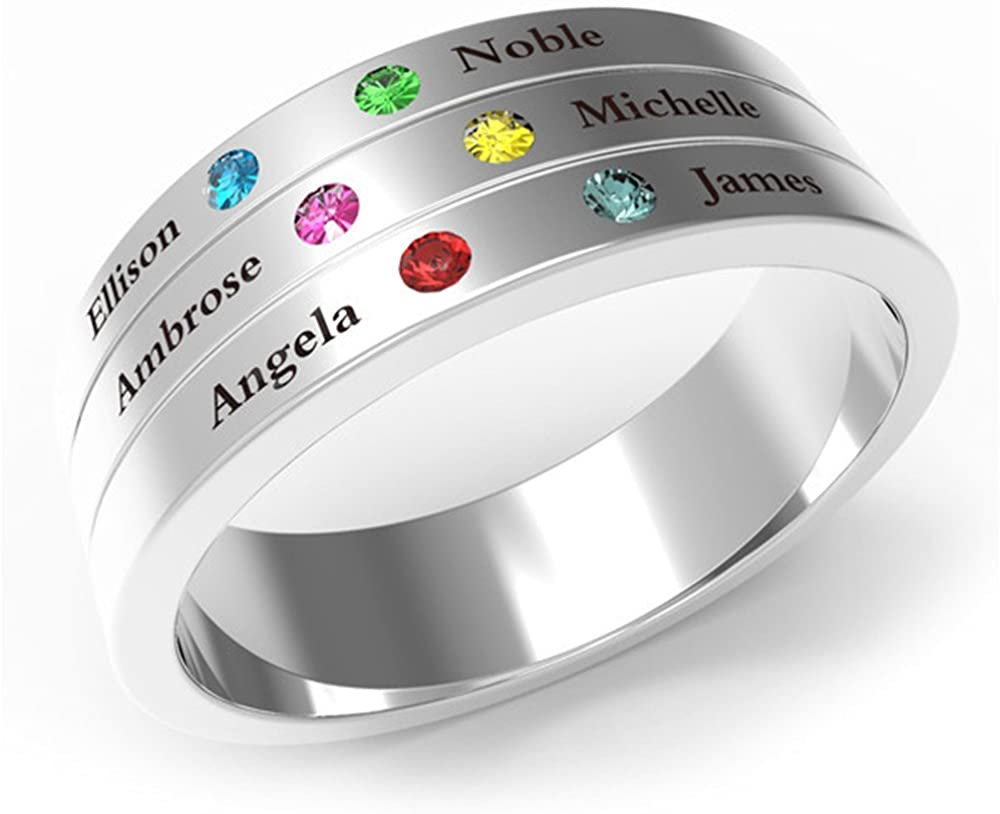 a266XDKSJK Personalized 925 Silver Family Heart Stone Mother Rings Customized up to 6 Name Engraved & Birthstones Mom Rings