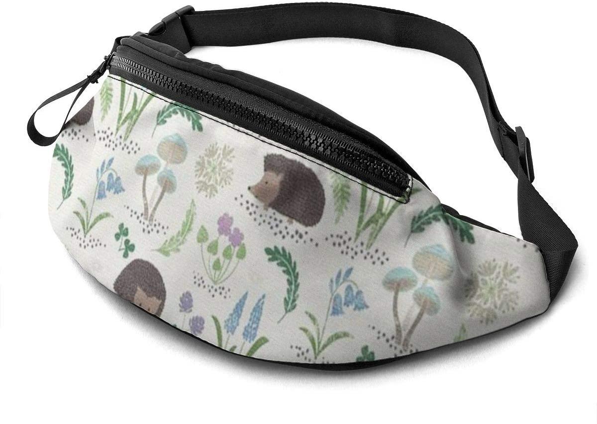 Hedgehog Fanny Pack For Men Women Waist Pack Bag With Headphone Jack And Zipper Pockets Adjustable Straps