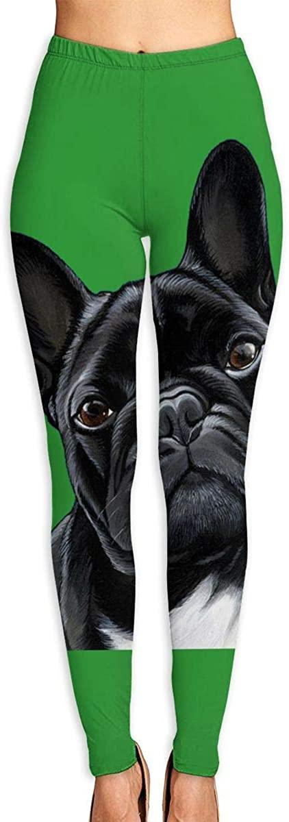 Nzioap0 Women's Soft Lightweight British Black Bulldog Leggings High Waist Yoga Pants Training Leggings