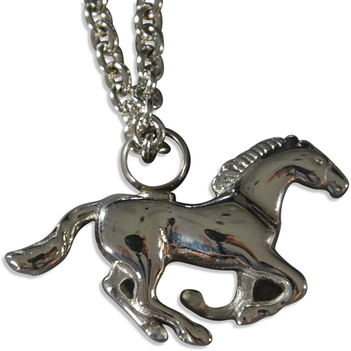 Gwen Delicious Silver Galloping Mustang Horse Urn Secret Stash Cremation Necklace Urn Stallion Keepsake Memorial Capsule Vial (20 Inches)