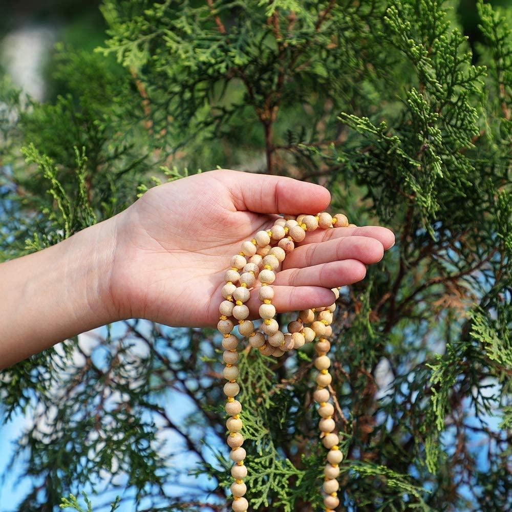108 Beads Genuine Sandlewood Tibetan Meditation Prayer Japa Mala, Necklace. 8MM Beads (1 piece))