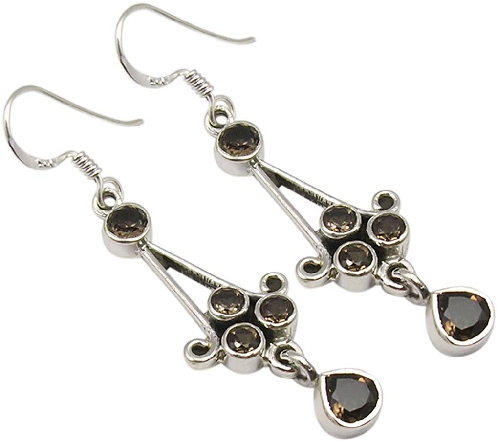 SilverStarJewel Solid Sterling Silver Smoky Quartz Earrings 5.1 cm New Art