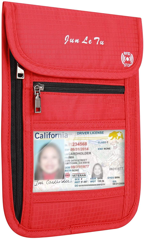 seOSTO Travel Passport Holder, Neck Wallet Travel Neck Pouch with RFID Blocking, Travel Walletsfor Men & Women