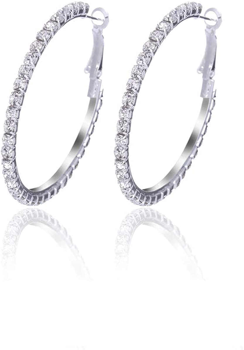 Royal Amoyy Hoop Earrings for Women and Girls, Shinning Rhinestone Hoop Earrings, Hypoallergenic Plated Alloy Earrings, Silver