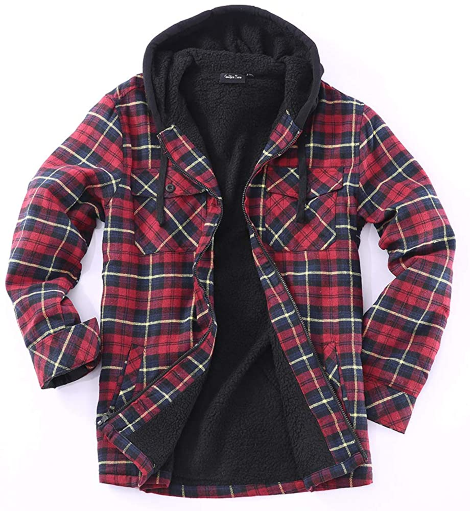 Golden Tree Men's Full Zip Hooded Flannel & Sherpa Lined Long Sleeve Soft Fabric Warm Hoodie Jacket