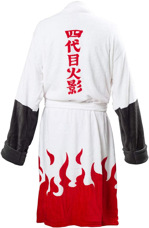 Mens Naruto Namikaze Minato Akatsuki Kimono Bathrobe Robe Fleece Winter Lounge Collar Shawl Spa Pajamas Sleepwear