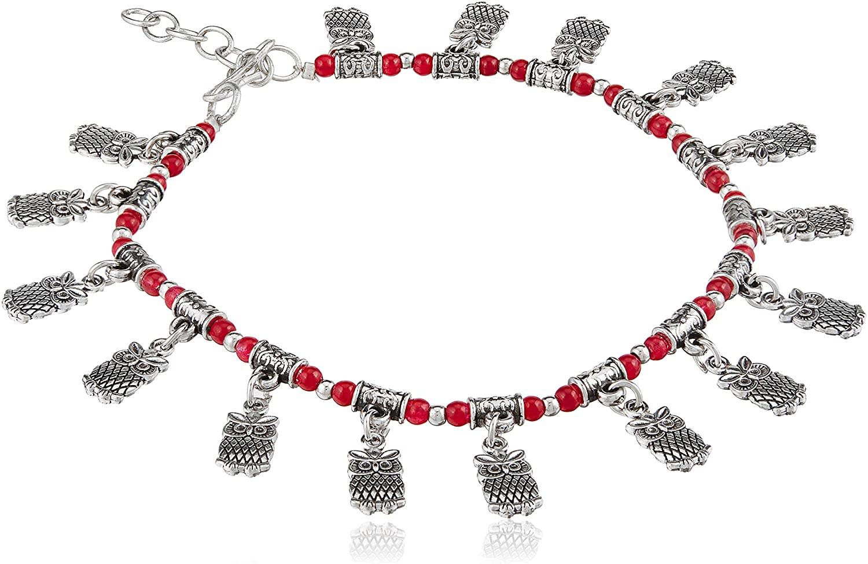PRAANJAL Dainty Ankle Bracelet - Boho Anklets Bracelet, Handmade Beach Foot Jewelry with owl Charms