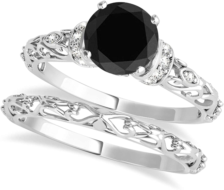(1.12ct) Platinum Black Diamond and Diamond Antique-Style Bridal Set