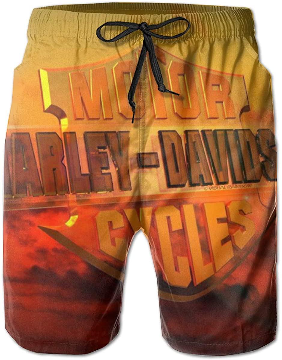 REBELN Men's Harley Davidson Logo Mens Summer Swim Trunks Quick Dry Funny Beach Board Shorts with Mesh Lining