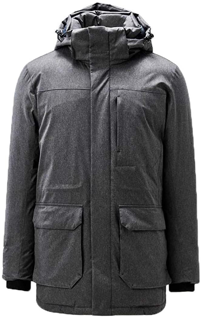 Men Warm Duck Down Jacket Men Grey Duck Down Detachable Mid-Long Down Jacket Windproof