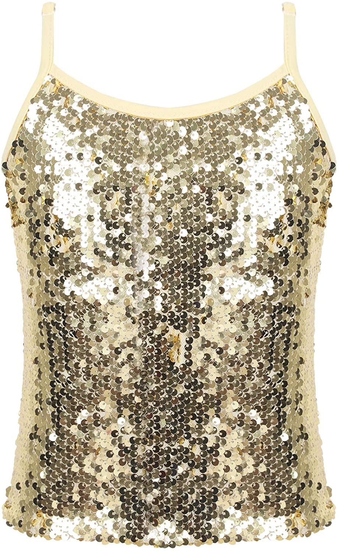 Kaerm Big Girls Sparkly Sequins Tank Top Camisole with Adjustable Straps for Jazz/Hip Hop/Street Dance