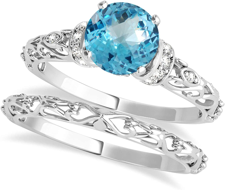 (1.62ct) Palladium Blue Topaz and Diamond Antique-Style Bridal Set