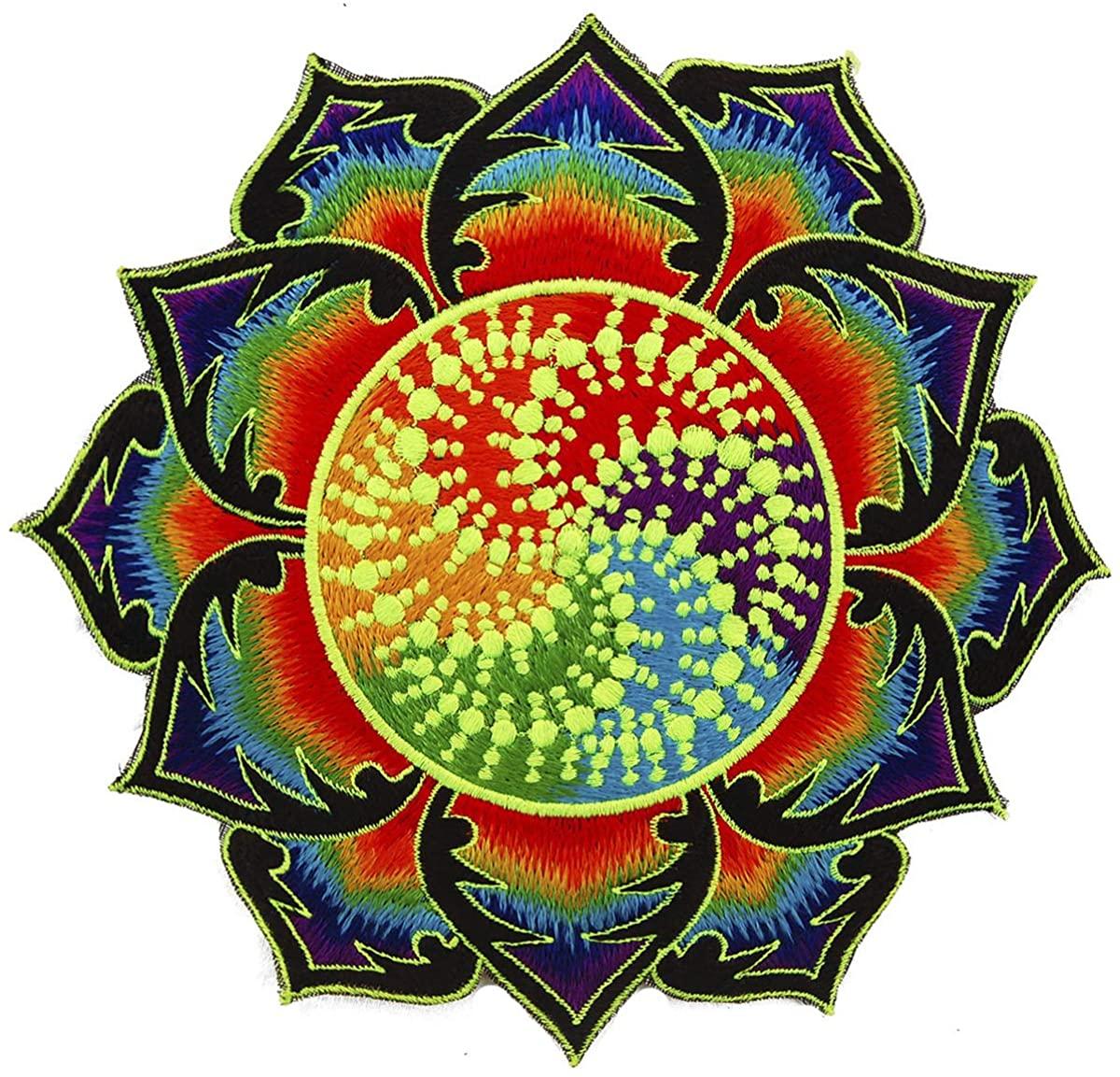 ImZauberwald Rainbow Fractal Crop Circle patch ~7inch handmade psychedelic art