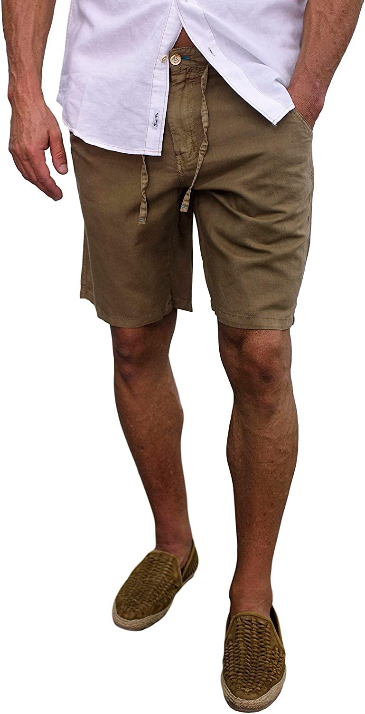 Short Fin Linen Walking Shorts (Size 38, Taupe L8000)