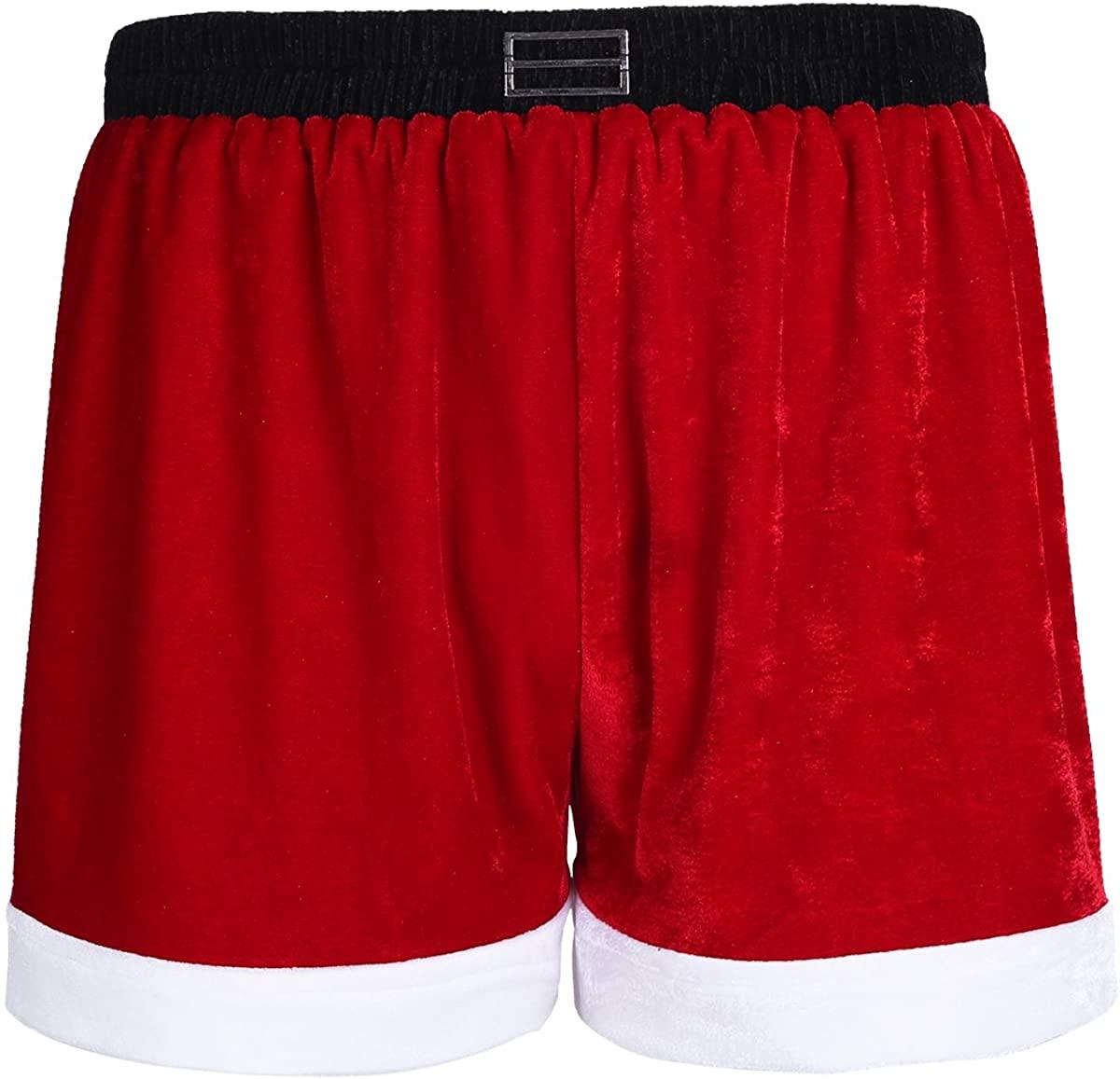 YiZYiF Men's Velvet Red Boxer Briefs Christmas Holiday Shorts Santa Underwear
