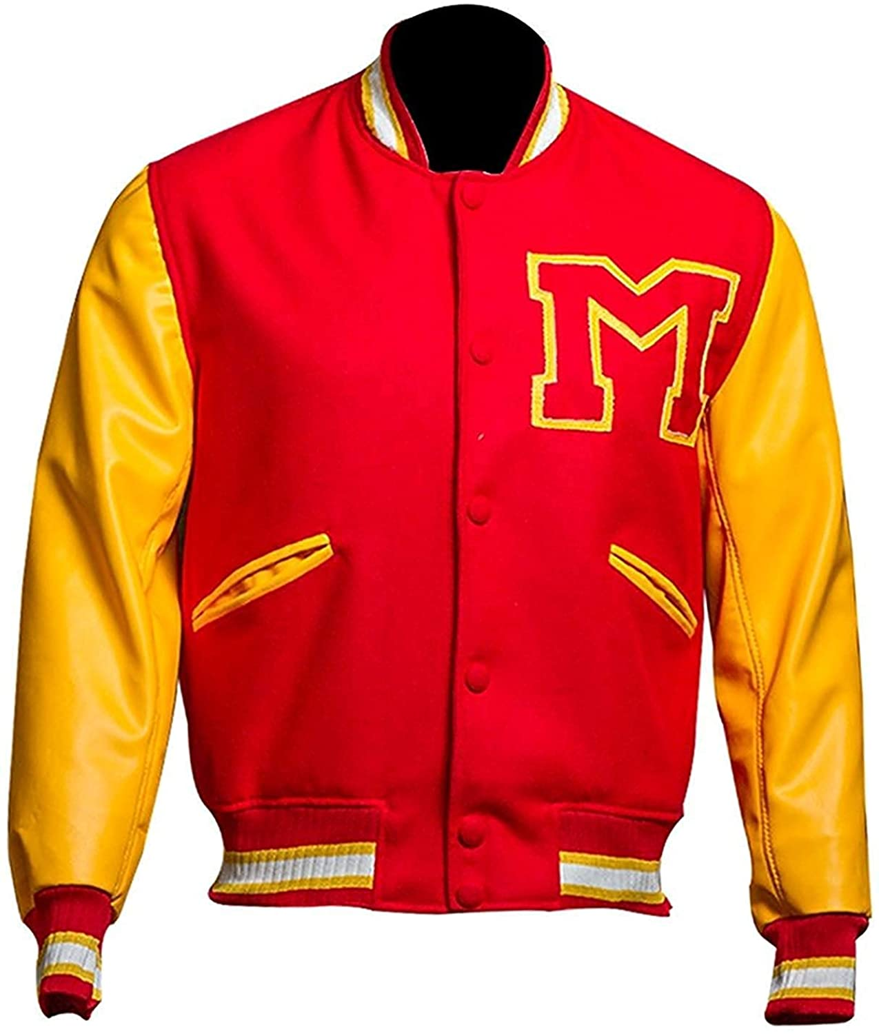 Red M Logo Varsity Letterman Bomber Jacket | Mens Red Jacket