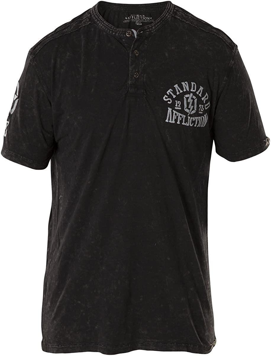 Affliction Divio Stamp Men's Short Sleeve Fashion Graphic Henley T-Shirt