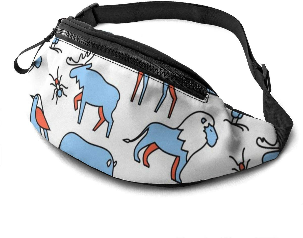 Popular Wild Life Animals Fanny Pack For Men Women Waist Pack Bag With Headphone Jack And Zipper Pockets Adjustable Straps