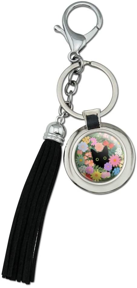 Black Cat Hiding in Spring Flowers Chrome Plated Metal Round Leather Tassel Keychain