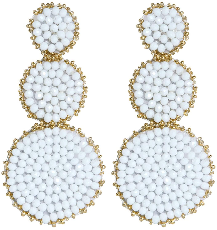 LANE WOODS Statement Drop Earring Beaded Handmade Dangle Earrings for Women and Girls
