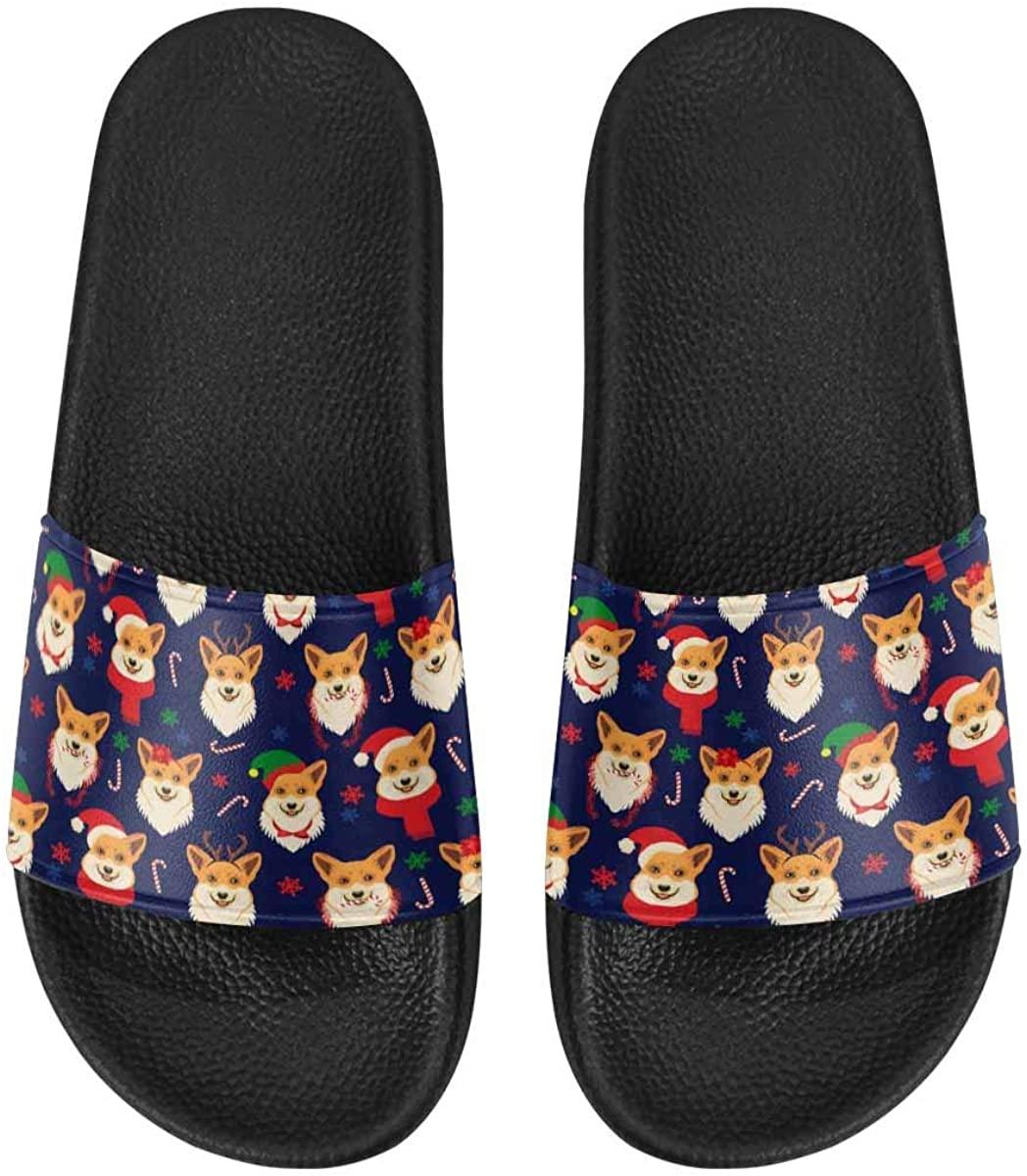 INTERESTPRINT Christmas Corgis Men Slide Sandals Lightweight Breathable Sandals Shoes