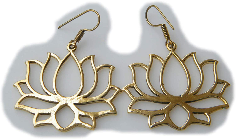 Surbhi Crafts Lotus Brass Earring,Fancy Earring, Dangle Earring, Tribal Earring, Boho, Fashion Earring, AH-15016